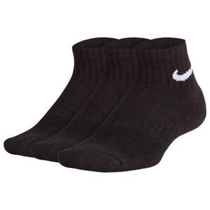 Boys NIKE Socks 3 Pair Pack Junior Kids Trainer Ankle Quarter Cotton Black White