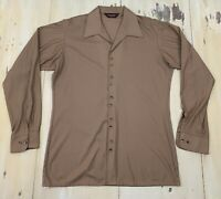 VAN HEUSEN - Vtg 70s Qiana Nylon Tan Button-Up L/S Disco Shirt, Mens LARGE