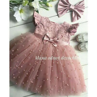 Princess Baby Kid Girl Lace Bow Tutu Dress For Birthday Wedding Pageant Party