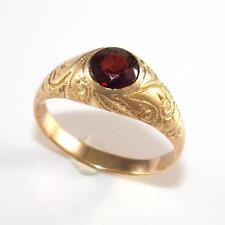 Vintage Estate Solid 14K Yellow Gold Red Garnet Etched Band Ring Size 10.5 LQ2-G