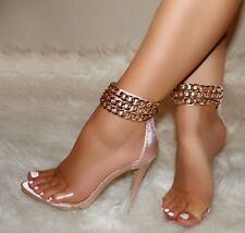 Rose Gold Clear Strap Ankle Chains Open Toe Heels, US 5.5-11
