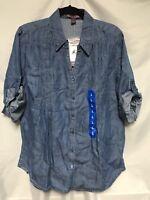 Gloria Vanderbilt Womens Size L Top Chambray Button Front Denim Shirt Tab Cuff