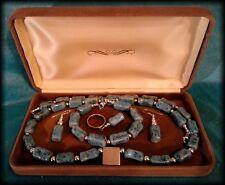 Vintage Mexican 925 Silver Porcelain Bead Necklace, Earrings, Bracelet, Ring Set