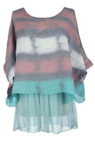 Womens Italian Lagenlook Zanzibar Patterned Linen Silk Batwing Lined Tunic Top