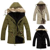 Korean Mens Winter Warm Thicken Hooded Coat Outerwear Casual Parka Tops XS-XL