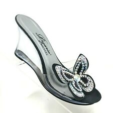 00002000 Dezario Vintage Wedge Clear Lucite Heel Jeweled Butterfly Detail Womens Size 6