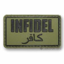 VINYL MORALE PATCH VELCRO PANEL RUBBER 'INFIDEL'  GREEN ARABIC