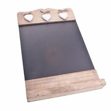 RUSTIC WOODEN BLACK CHALK BOARD WITH 3 WHITE HEARTS