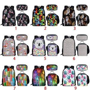 Cat Corgi Dog Girls Backpack Kids  School Lunch Pen Bags Set Women Rucksack Gift
