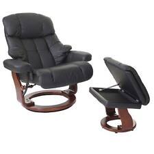 Leder XXL Relaxsessel TV Sessel Hocker 180kg belast. Fernsehsessel schwarz 56055