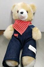 Vintage Levi's Strauss Brown Teddy Bear Jean Overalls Stuffed Animal Plush Toy V