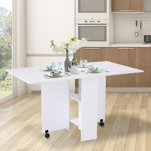 Mobile Drop Leaf Dining Table Folding Desk w/ 2 wheels Storage Shleves White