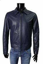 Italian HANDMADE Fantastic Slim Fit soft Leather Blouson Jacket color BLUE XS