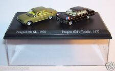 COFFRET ATLAS DUO 2 METAL UH PEUGEOT 604 SL VERTE 1976 + OFFICIELLE 1977 HO 1/87