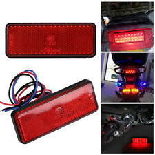 Motorcycle Scooter Moped Rectangle Red LED Reflector Tail Brake Light Stop Lamps