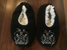 boys toddler STAR WARS SLIPPERS shoes BLACK DARTH VADER sherpa lined  S/M 10/11