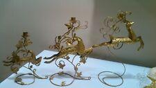 3- Golden Dashing Reindeer Candle Holder Set Christmas Ornate