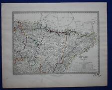 Original antiguo mapa North East España, España, Pamplona, Barcelona, Sduk, 1845