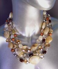 GORGEOUS Artisanal Wood Smoky Brown Czech Crystals Marble Beads Necklace Set