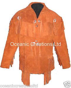 Mens Tan Motorcycle Cowboy Cruiser Fringe Tassle Cowhide Suede Leather Jacket