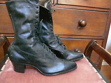 1890 Black Leather Lace-up Cap toe Boots Never Worn Classics Romantic