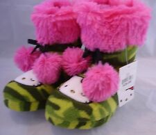 HELLO KITTY BY SANRIO Green Camouflage Pink Pom Poms Bootie Slippers Sz 11/12