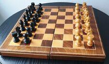 Schachspiel Backgammon mit Figuren - Holz - Klappkassette - Vintage