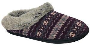 Dearfoams Women's Knit Clog Memory Foam Slipper (Small/5-6, Aubergine)