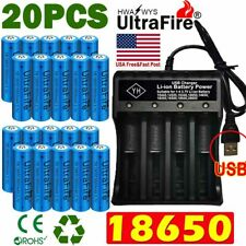 20X UltraFire 18650 Batteries 3.7V Li-ion Rechargeable Battery Chargers US Stock