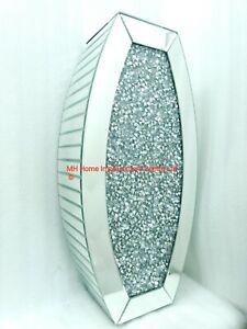 Diamond Crush Crystal Sparkly Silver Mirrored Floor Vase H65.5cm L31.7cm D17cm