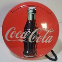 Vintage Coca Cola Lighted Round Red Sign Button Telephone 1995 Tested and Works