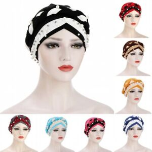 Muslim Women's Beads Braid Hijab Cap Africa Turban Hat Loss Hair Chemo Bonnet