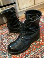 VINTAGE COMBAT MILITARY CORCORAN BLACK LEATHER PARATROOPER JUMP BOOTS 9 9.5 W