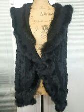 OLIVIA M Size L Womens Black Rabbit Fur Open Sleeveless Sweater Vest EUC