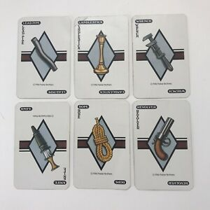 1986 Clue Board Game Replacement Pieces Parts 6 Weapons Cards
