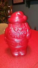 """Vtg 12"""" SANTA CLAUS Christmas COOKIE TREAT JAR CONTAINER Red Packer Ware USA"""