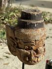 Striking Ancient Carved Wood Hanuman Statue Head Inlayed Eyes With Wood Mount