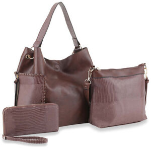 Satchel Purses and Handbags for Women Shoulder Tote Bags Three Piece Hobo