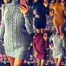 Womens Knitted Sweater Jumper Bodycon Mini Dress Ladies Winter Long Sleeve Tops