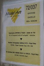 decals model art 72/037  spitfire  gazelle  sea venom