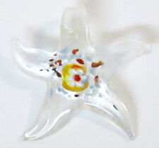 Acrylic or Glass Lampwork-esque Slide STAR Pendant Bead Clear White Orange