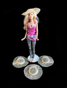 """Lot of 4 Barbie Doll Size 4"""" Hats decorate to match your Fashion Outfits New"""