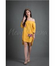 OFF SHOULDER EMBROIDERED DRESS (YELLOW) #crzycod