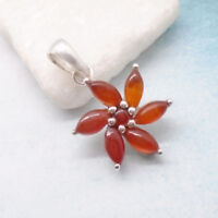 Karneol rotbraun rund Blüte Blume Flower Design Anhänger 925 Sterling Silber neu