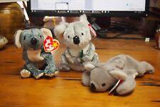 Ty Beanie Baby – Lot of 3 – Koala Bears – Eucalyptus, Bonzer, & Mel