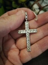 Thomas Sabo Large Silver Square CZ Stone Set GLAM AND SOUL Cross Pendant & Pouch