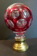 ANTIQUE FRENCH CRANBERRY CUT-TO-CLEAR NEWEL POST FINIAL / BOULE D'ESCALIER