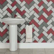Wallpaper Holden - Chevron Tile Glitter 3D Geometric -Kitchen Bathroom Red 89303