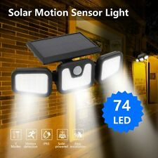More details for 74 led security garden lamp solar wall spotlights motion sensor waterproof