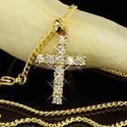 Collier avec pendentif croix véritable Zircon Plaqué Or 750 18 carats femme